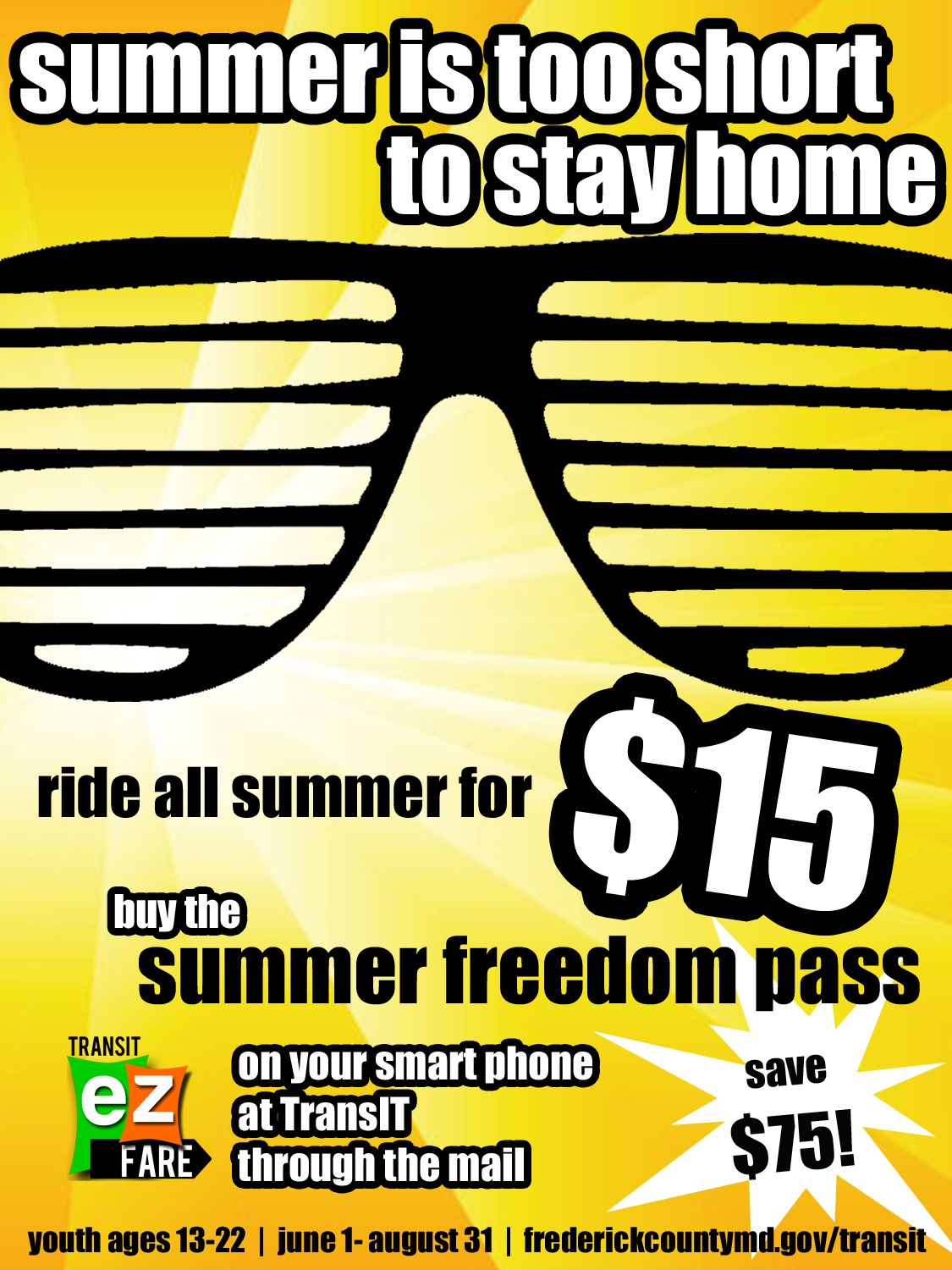 Summer Freedom Pass Available June 1 - August 31!