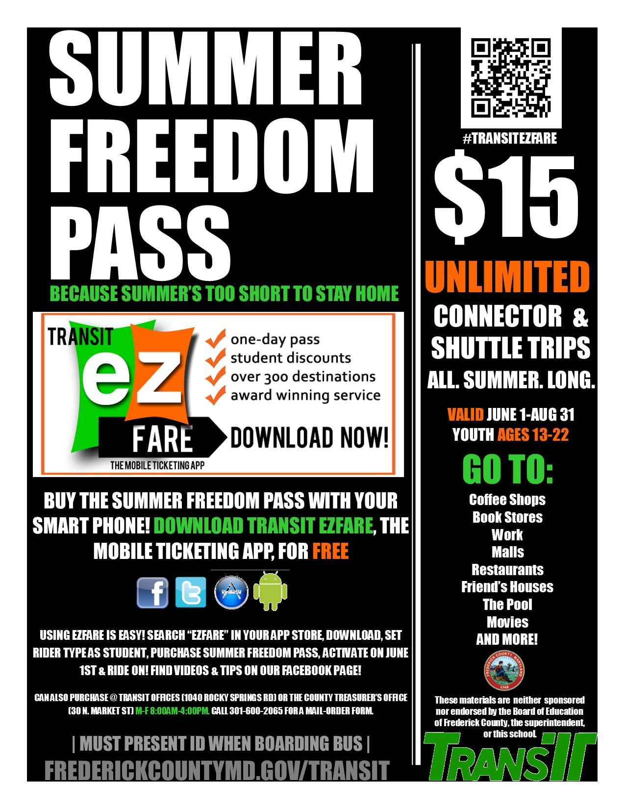 Summer Freedom Pass Flyer