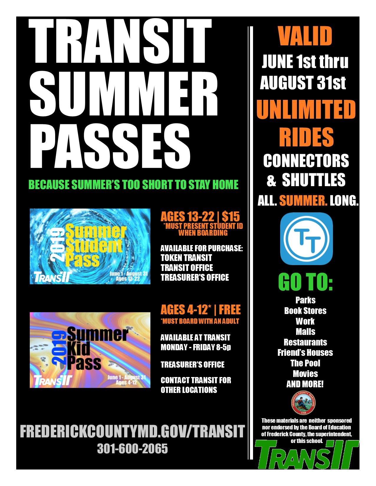FY19 Summer Freedom Pass Flyer - FCPS