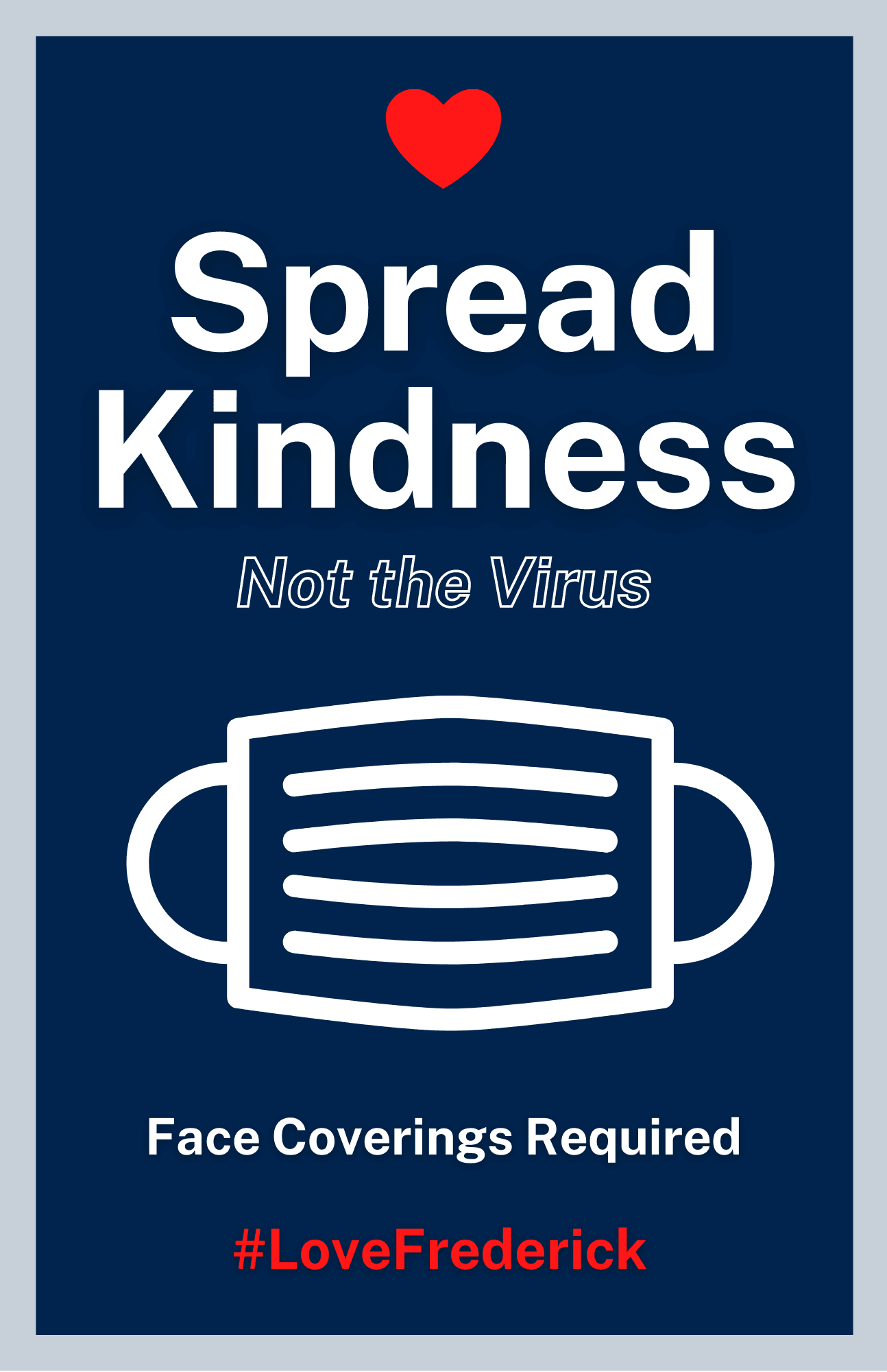 Spread Kindness poster - Face coverings required Opens in new window