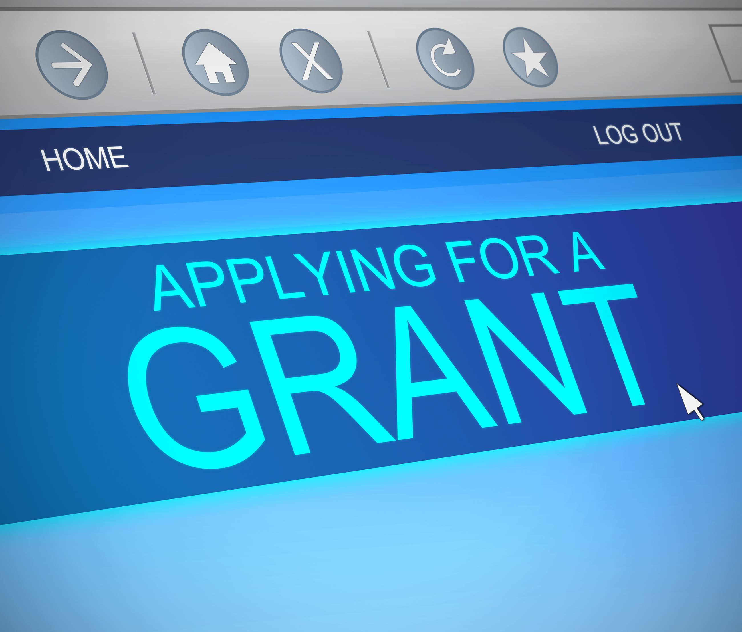 "Computer screen with text that reads ""Applying for a Grant"""