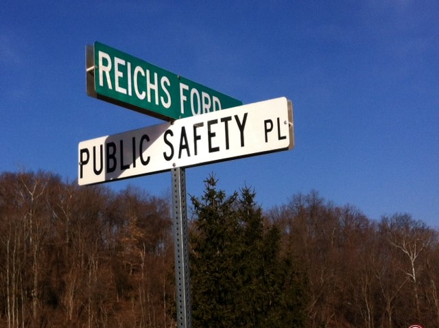 Public Safety Reichs Ford Rd Street Sign