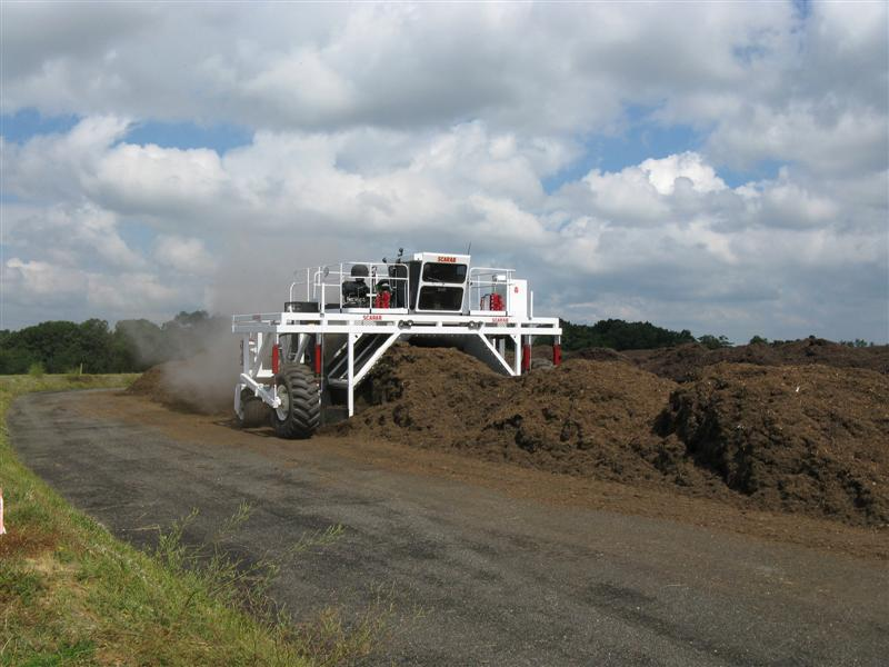 Compost Windrows Being Turned