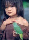 Girl holding a bird